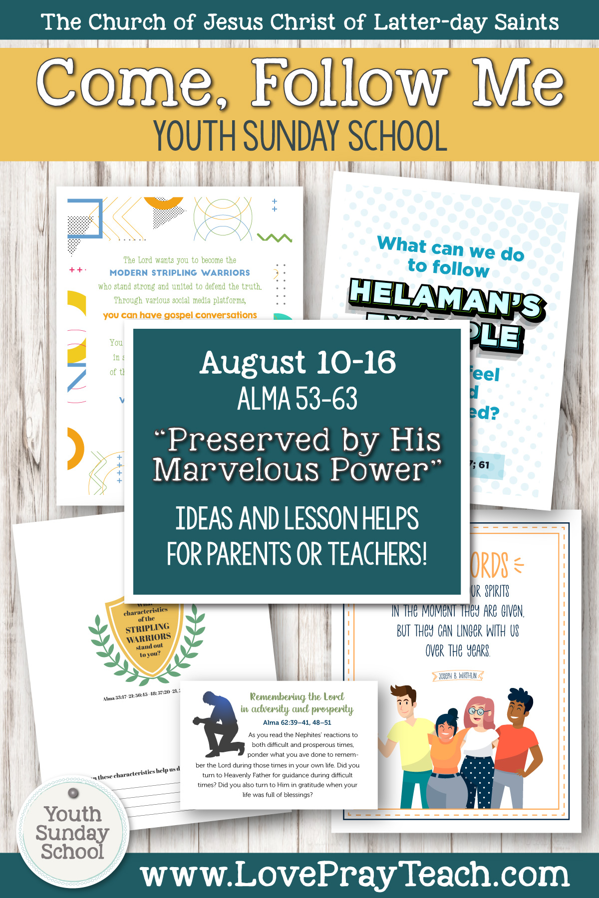 """Youth Sunday School Come, Follow Me Book of Mormon 2020 August 10–16 Alma 53–63 """"Preserved by His Marvelous Power"""" Printable Lesson Packet for Latter-day Saints for Parents AND Teachers"""