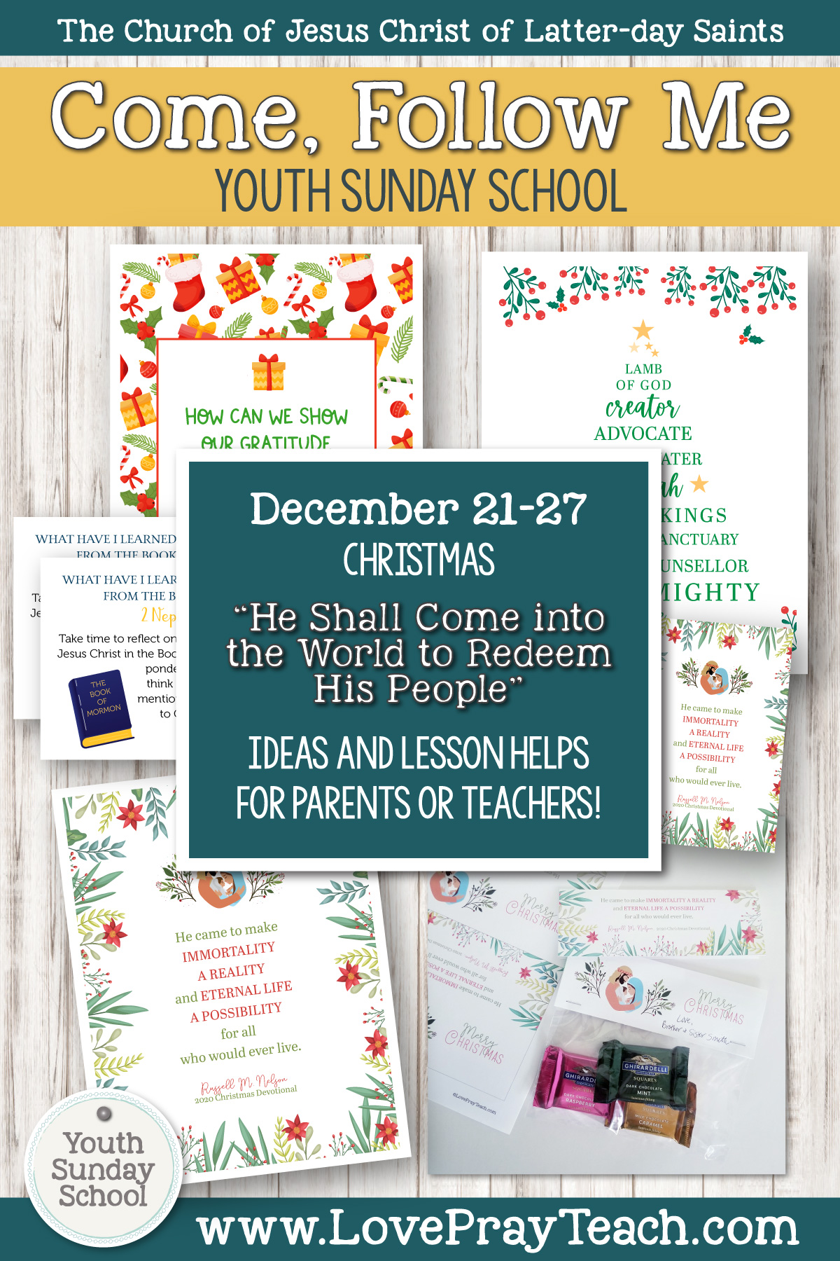 "Youth Sunday School Come, Follow Me Book of Mormon 2020 December 21–27 Christmas ""He Shall Come into the World to Redeem His People"" Printable Lesson Packet for Latter-day Saints for Parents AND Teachers"