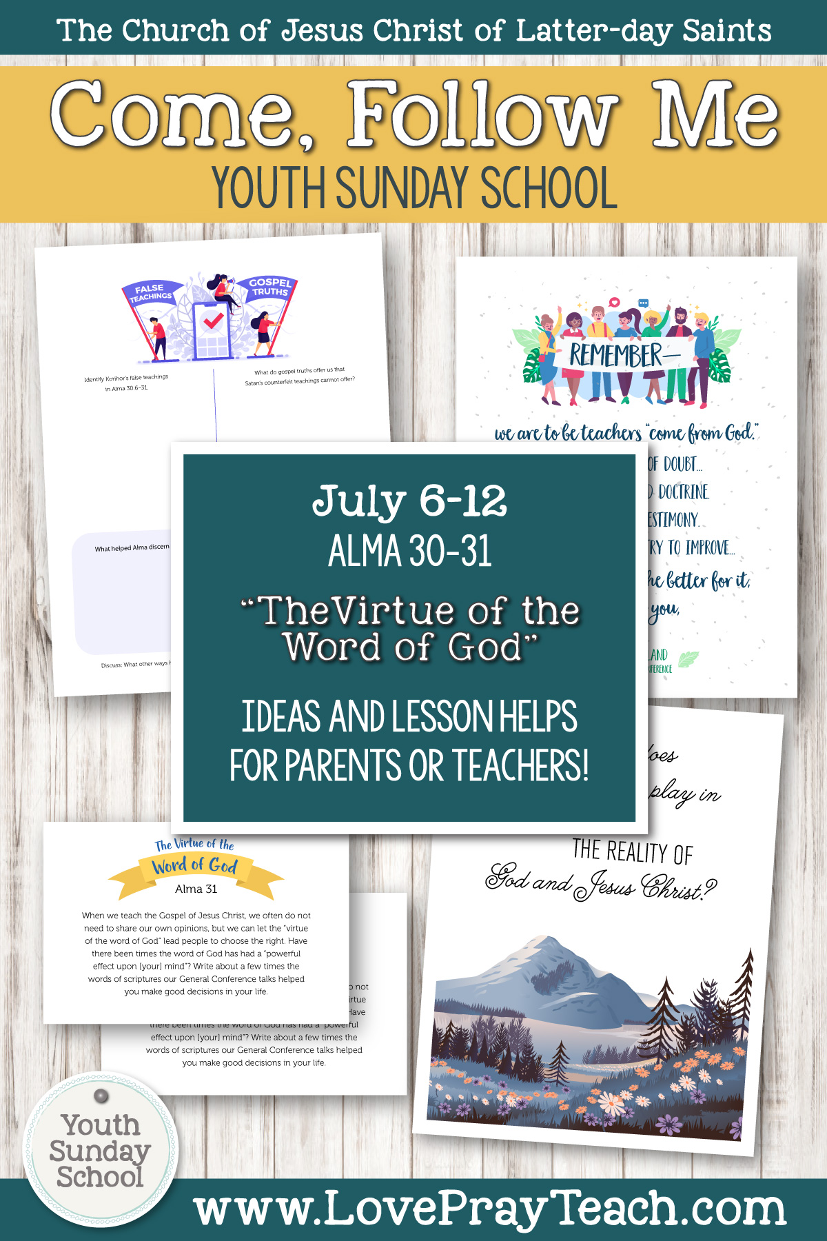 "Youth Sunday School Come, Follow Me Book of Mormon 2020 July 6–12 Alma 30–31 ""The Virtue of the Word of God"" Printable Lesson Packet for Latter-day Saints for Parents AND Teachers"