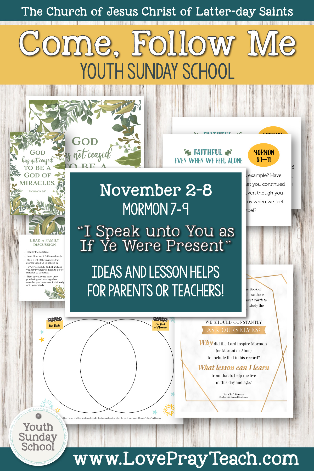 "Youth Sunday School Come, Follow Me Book of Mormon 2020 November 2–8 Mormon 7–9 ""I Speak unto You as If Ye Were Present"" Printable Lesson Packet for Latter-day Saints for Parents AND Teachers"