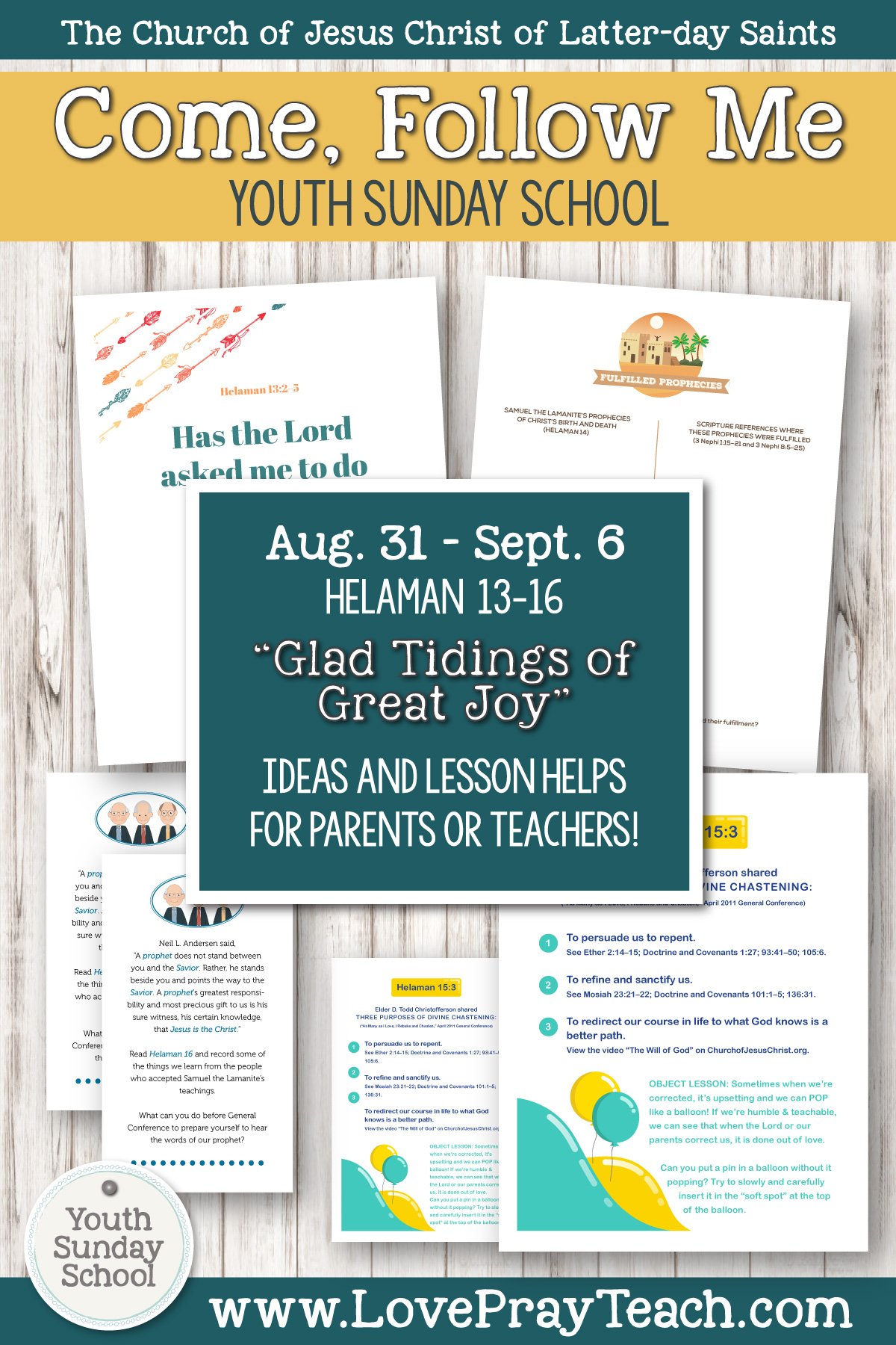 "Youth Sunday School Come, Follow Me Book of Mormon 2020 August 31–September 6 Helaman 13–16 ""Glad Tidings of Great Joy"" Printable Lesson Packet for Latter-day Saints for Parents AND Teachers"
