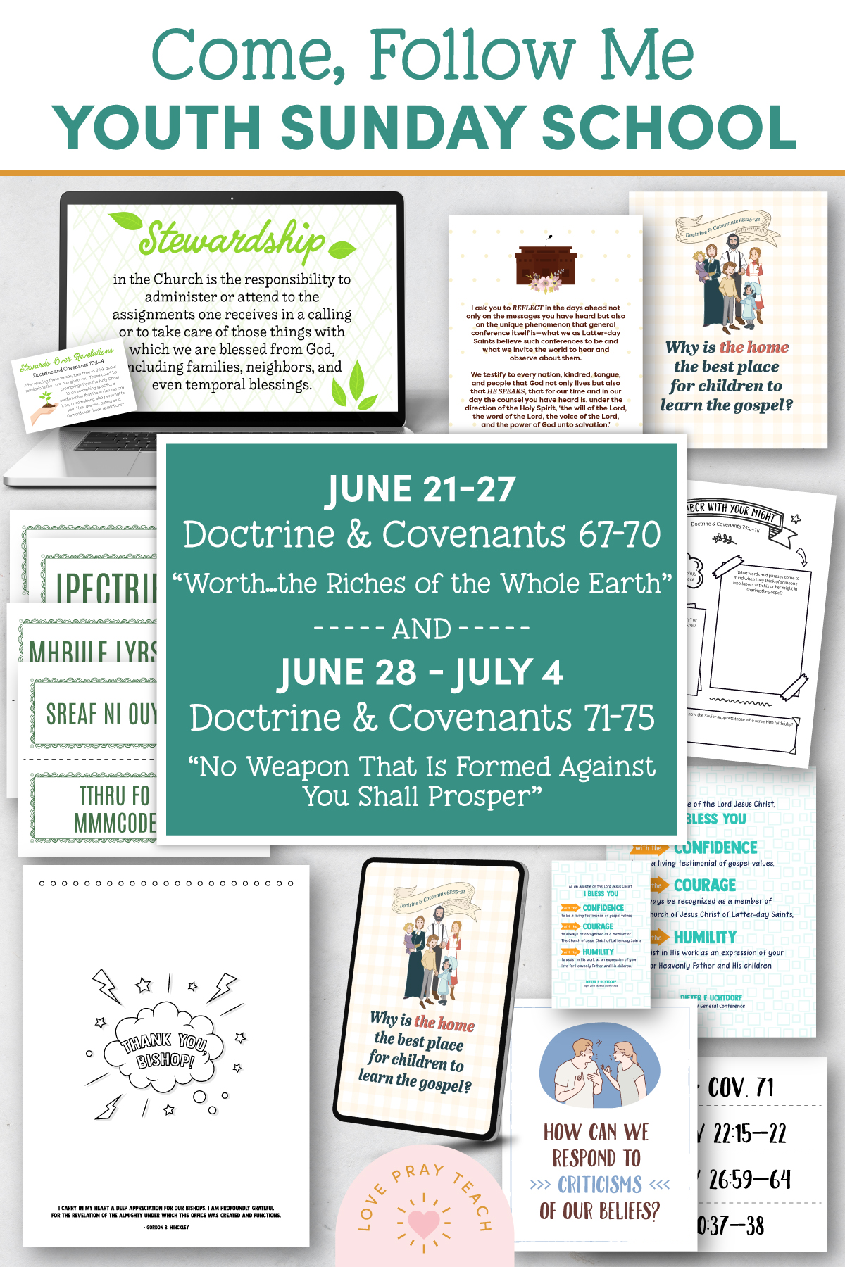 """Youth Sunday School Come, Follow Me 2021 Printable Lesson Pack June 21–27 Doctrine and Covenants 67–70 """"Worth … the Riches of the Whole Earth"""" and June 28–July 4 Doctrine and Covenants 71–75 """"No Weapon That Is Formed against You Shall Prosper"""""""
