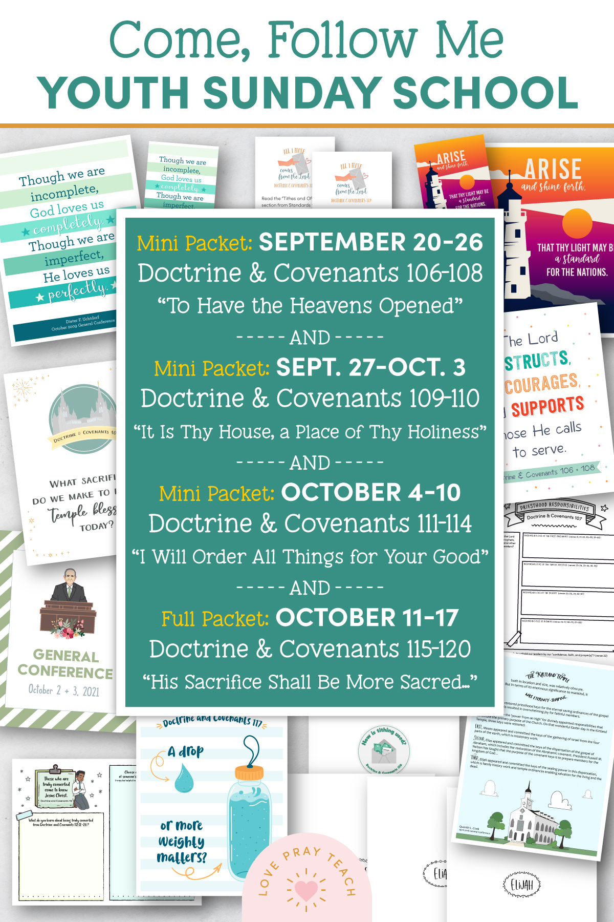 """Youth Sunday School Come, Follow Me 2021 Printable Lesson Pack September 20–26 """"To Have the Heavens Opened"""" AND September 27–October 3 """"It Is Thy House, a Place of Thy Holiness"""" AND October 4–10 """"I Will Order All Things for Your Good"""" AND October 11–17 """"His Sacrifice Shall Be More Sacred unto Me Than His Increase"""" Doctrine and Covenants 106–120"""